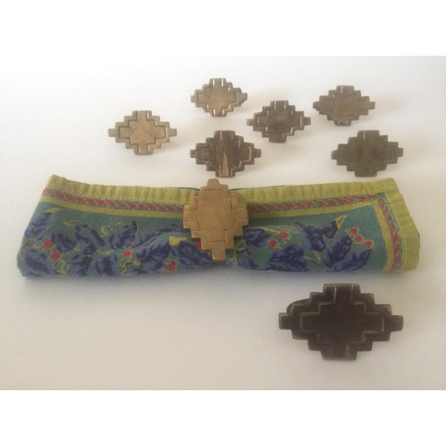 Vintage Brass Modernist Geometric Napkin Rings - Set of 8 - Image 3 of 7