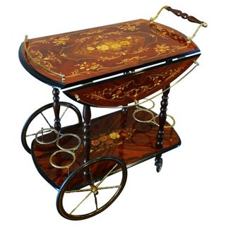 Vintage Italian Marquetry Inlay Bar Cart