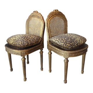 French Chelsea House Carved Giltwood and Cane Ballroom Chairs - A Pair
