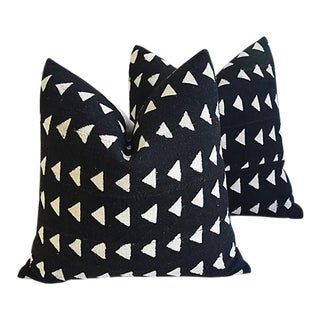 """22"""" Custom Tailored Mud Cloth & Linen Abstract Feather/Down Pillows - a Pair"""