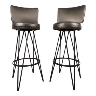 Mid-Century Modern Hairpin Swivel Stools in the Style of Frederick Weinberg