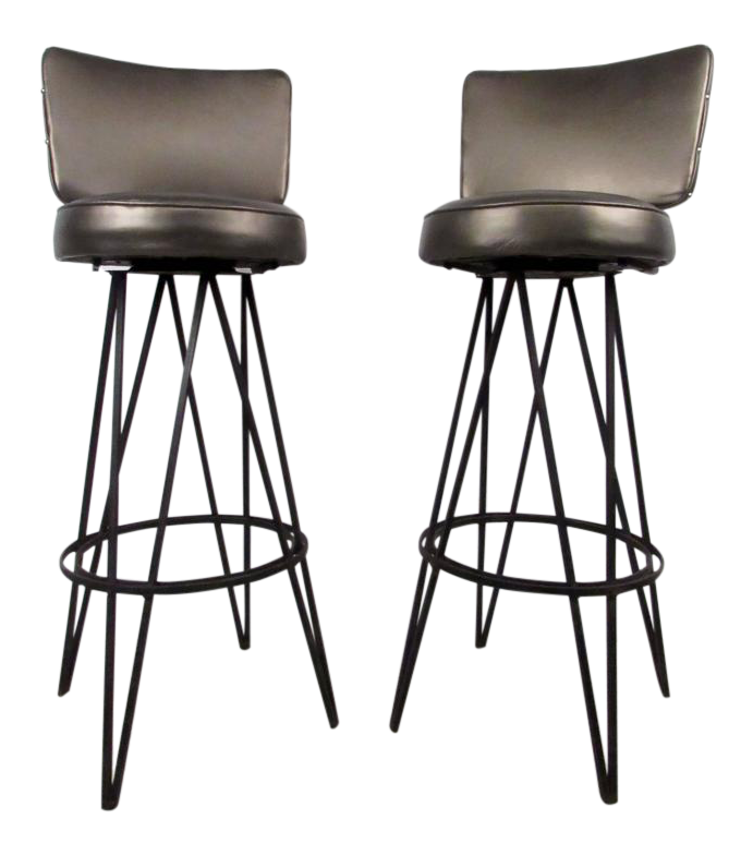 midcentury modern hairpin swivel stools in the style of frederick weinberg