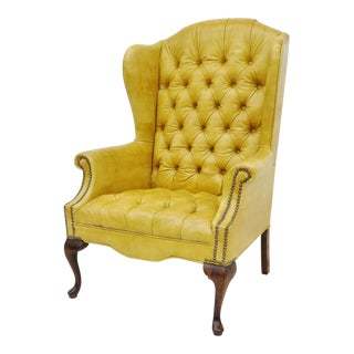 Yellow Chesterfield Style Wingback Chair