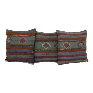 Bohemian Wool Kilim Rug Pillows - Set of 3
