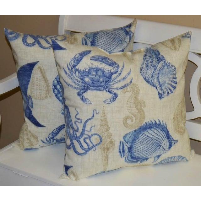 Image of Blue & Tan Nautical Pillows- a Pair