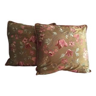 Embroidered Silk Shams - A Pair