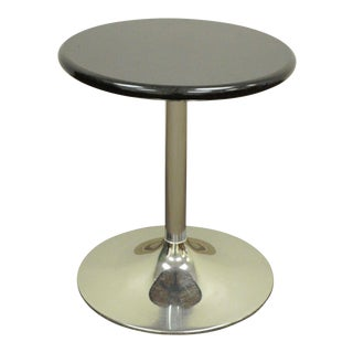 "24"" Round Contemporary Modern Black Granite Chrome Tulip Base Accent Side Table"