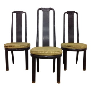 Asian Modern Black Lacquer Chairs by Henredon - 3