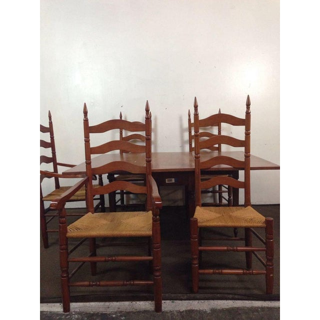 Maple Dining Room Set: Colonial Style Carved Maple Dining Room Set - S/7