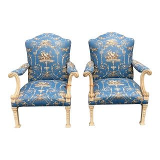 Pair of Antique Baroque Arm Chairs w Rose Cumming Blue Fabric