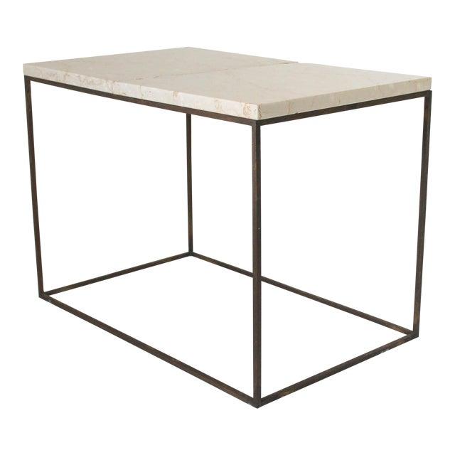 Rectangular Brass & Travertine Table - Image 1 of 11
