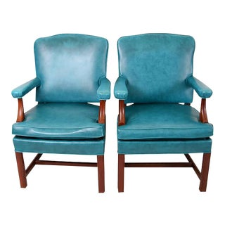 Turquoise Faux Leather Armchairs - A Pair