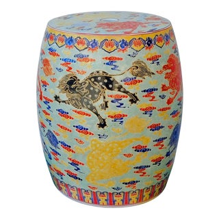 Chinese Oriental Porcelain Foo Dogs Round Small Stool