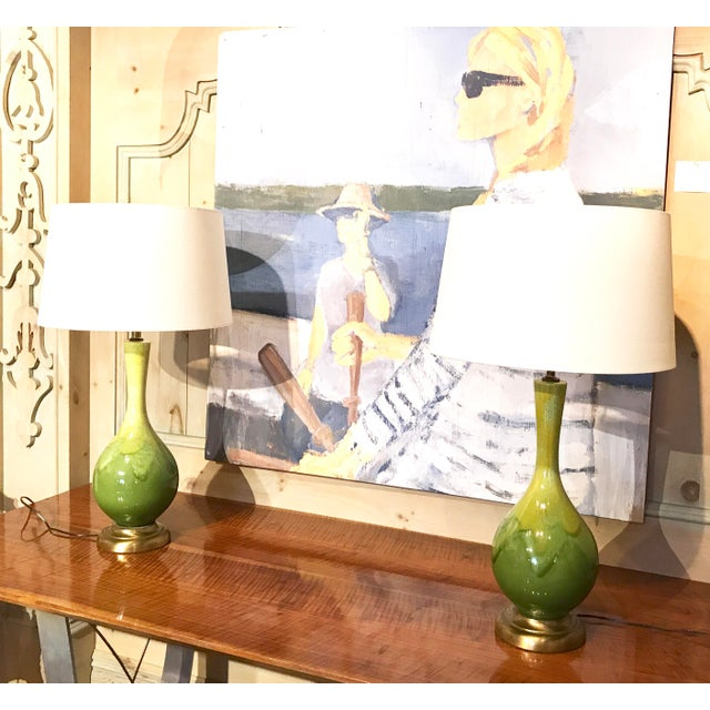 Image of Mid-Century Green Glazed Lamps - A Pair