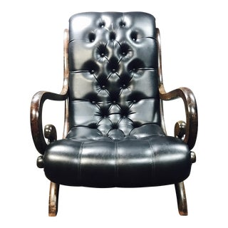 Art Deco Tufted Leather Chair
