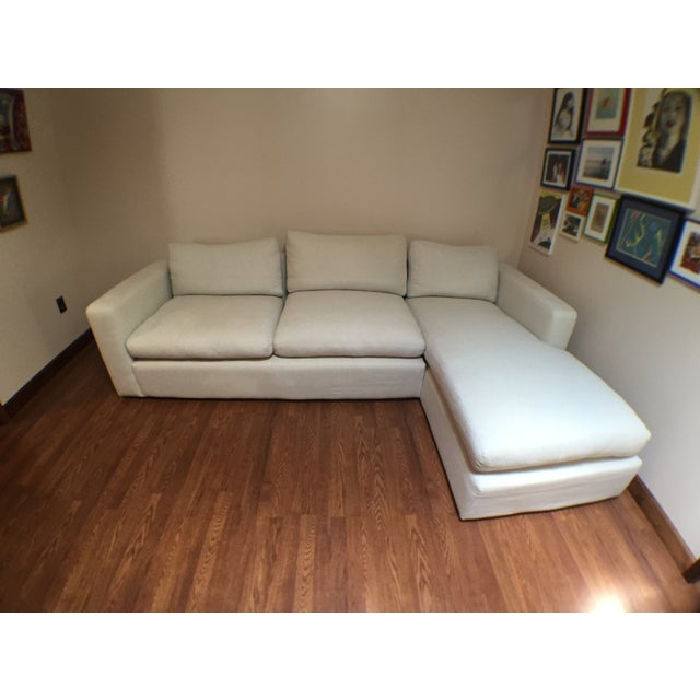 Modern Cotton/Linen Blend Couch with Chaise - Image 2 of 7