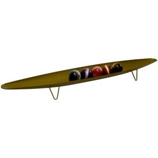 Surfboard Metal Platter Hairpin Legs & Stone Orbs