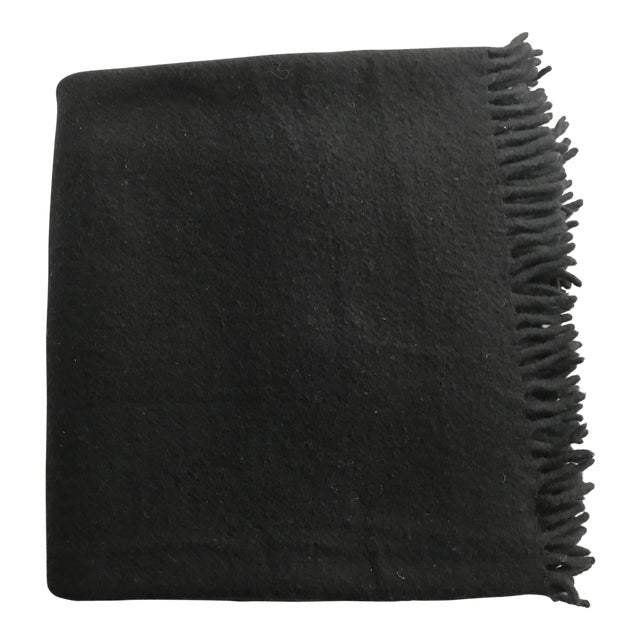 Zambaiti Lambswool & Cashmere Black Square Throw - Image 1 of 4