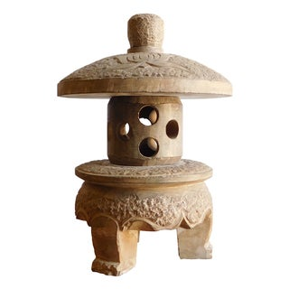 Gray Lotus Mini Stone Garden Lantern
