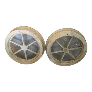Shabby Chic Round Wood & Glass Windows - a Pair