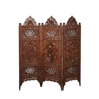 3-Panel 20th Century Indian Carved Screens
