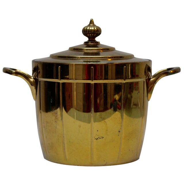 Brass Ice Bucket with Glass Liner - Image 1 of 6