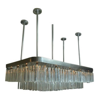 Huge and Impressive Mid-Century Nickel and Lucite Chandelier
