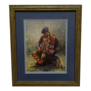 "Original Double Matted & Framed ""Scottish Soldier"" Print"