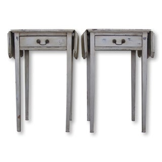 Pair of Grey Antique Drop Leaf End Tables