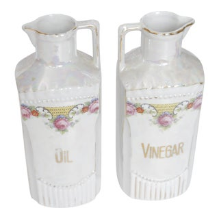 Antique Lustre German Oil and Vinegar Set - A Pair