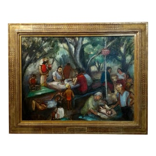 "1935 Frances Beatrice Lieberman S.F. Museum of Art ""Picnic at Alum Rock"" Oil Painting"