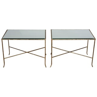 Pair of Italian Gilded X-Base Side Tables with Mirror Tops