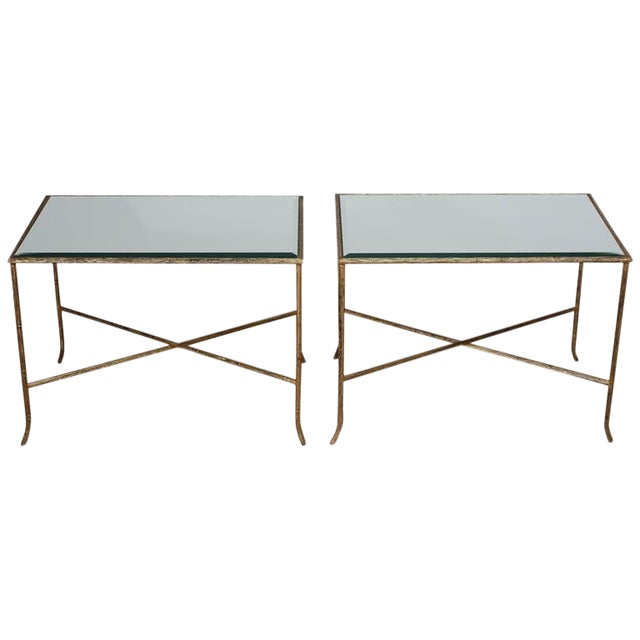 Image of Pair of Italian Gilded X-Base Side Tables with Mirror Tops