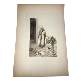19th Century Eastern Noble & Pigeons Lithograph