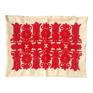 Vintage Red Embroidered Linen Pillowcase