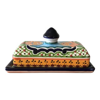 Talavera Mexican Pottery Covered Butter Dish