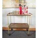 Image of Mid-Century Wood Tray Bar Cart