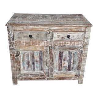 Reclaimed White Washed Wood Cabinet