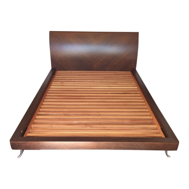 African Walnut With Matte Chrome Leg Queen Bed - Image 1 of 11