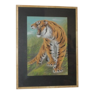 Amazing Pastel Art Tiger Painting W/Bamboo Frame