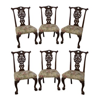 Antique Solid Oak Colonial Revival Dining Chairs - Set of 6