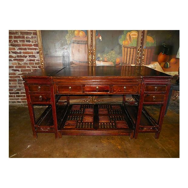 Rare Chinese Rosewood Partner's Desk, C. 1920 - Image 2 of 9