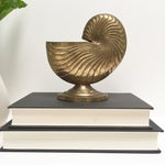 Image of Vintage Brass Nautilus Shell Planter