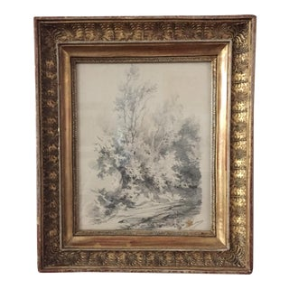 Early 19th Century French Frame With Barbizon Drawing