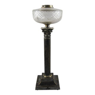 """MESSENGER'S"" Crystal and Brass Corinthian Oil Lamp"