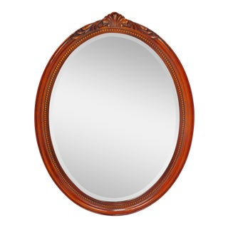 Large Oval Mahogany Colored Beveled Glass Wall Mirror