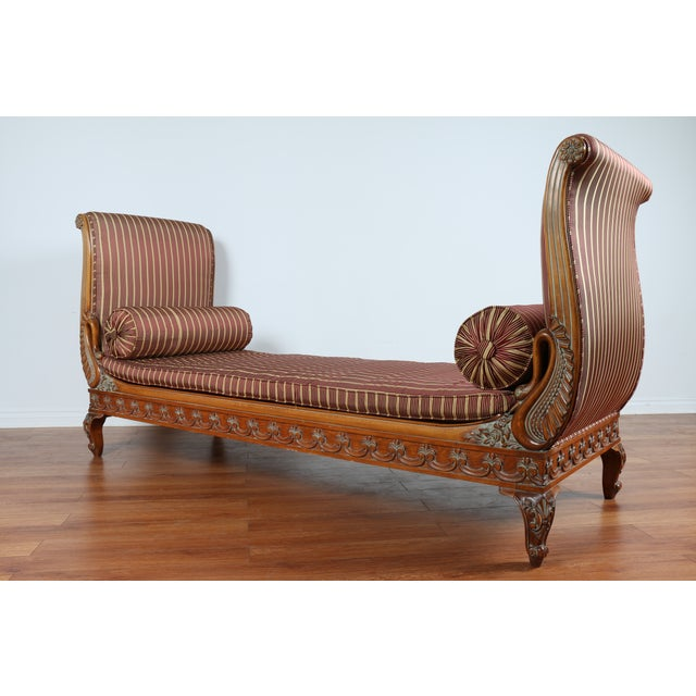 Swan carved chaise lounge chairish for Carved wooden chaise