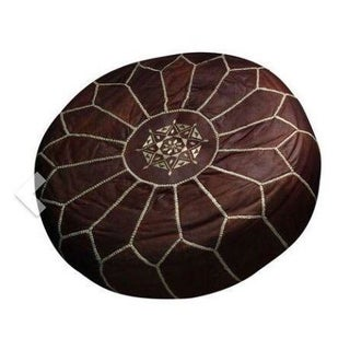 Brown Leather Morrocan Pouf