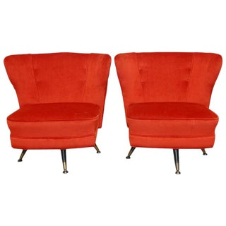 Mid-Century Theo Ruth Style Velveteen Swivel Lounge Chairs - A Pair