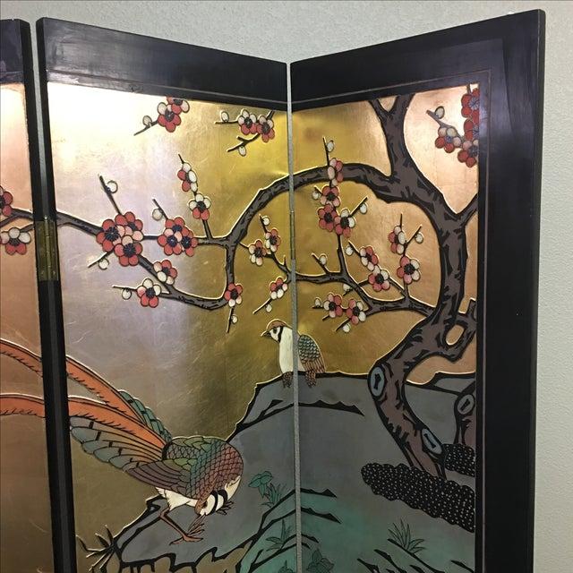 Four Panel Metallic Chinese Screen - Image 4 of 10